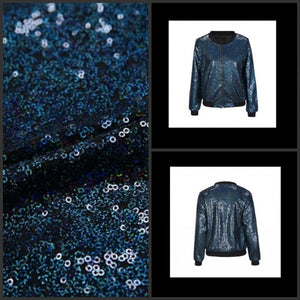 Sequined Blue Bomber Jacket - TAIGS000