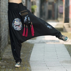 Embroidered Collapse Crotch Pants - TAIGS000