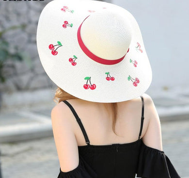 Outdoor Cherry Embroidery Big Brim Sun Hats - TAIGS000