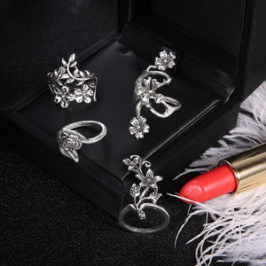 Vintage flower rings - 4 piece set - TAIGS000