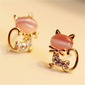 Rhinestone Cat Stud Earrings - TAIGS000