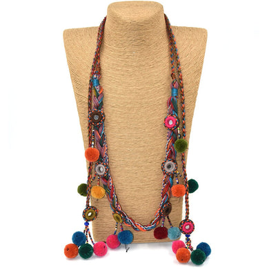 Pompoms Charm Long Beaded Chains - TAIGS000