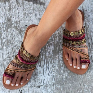 Golden Ethno Sandals - TAIGS000