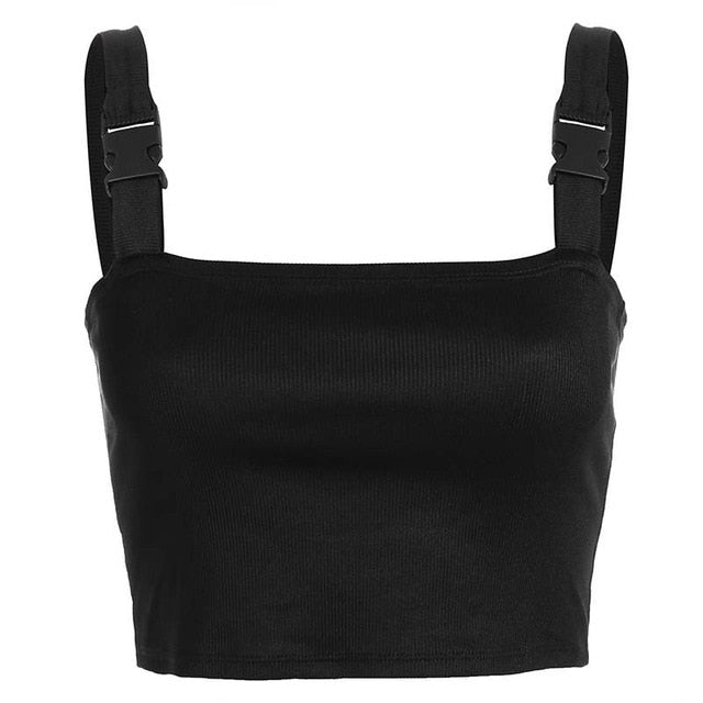 Black Adjustable Buckle Tank Top - TAIGS000