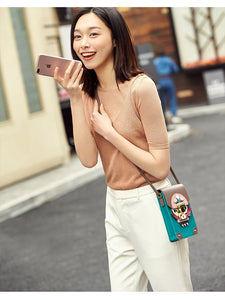 Panelled Split Leather Phone Bag - TAIGS000
