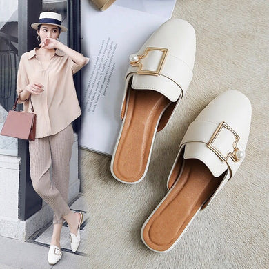 Pearl Buckle Mules - TAIGS000
