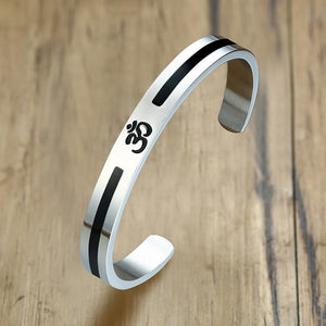 Stainless Steel OM black band Cuff Bangle for Men - TAIGS000
