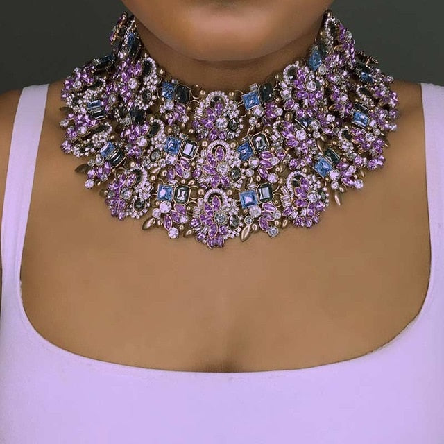 Rhinestone Indian Bridal necklace - TAIGS000