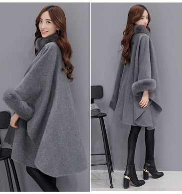 Faux Fox Fur Collar Cape - TAIGS000