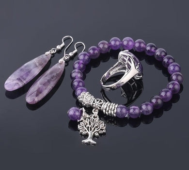 Purple Crystal tree of life Jewellery Set - TAIGS000
