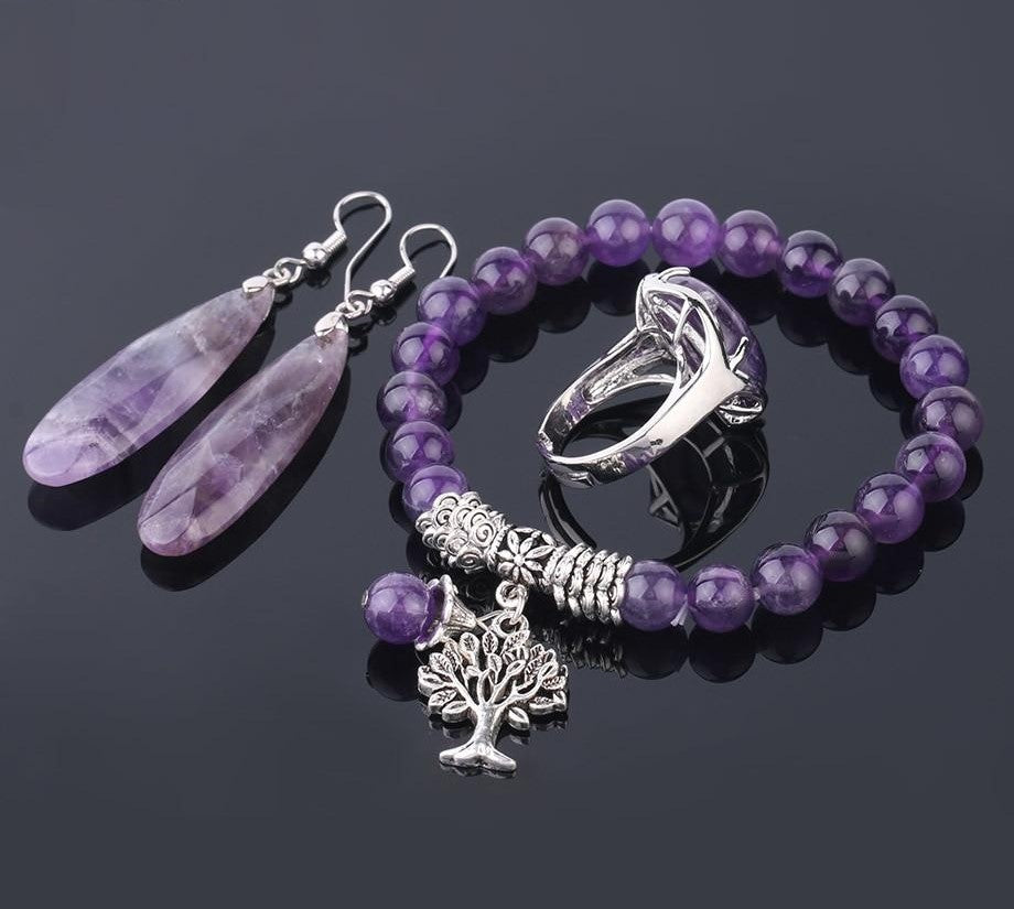 Purple Crystal Tree Of Life Jewelry Set - TAIGS000