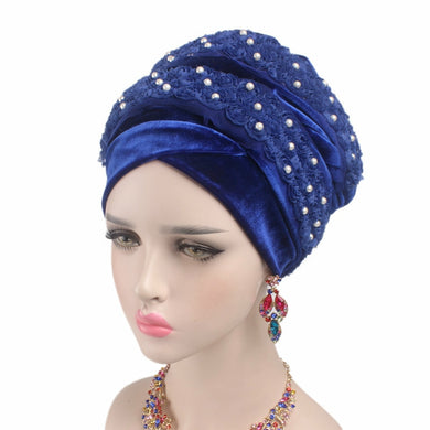 Velvet 3D Beaded Flower Head Wraps - TAIGS000