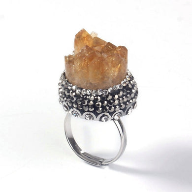 Natural Yellow Citrines Ring - TAIGS000