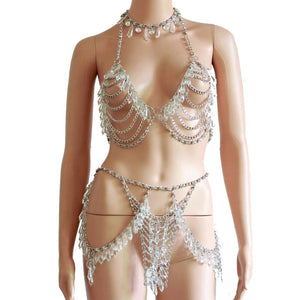 Crystal Beading Exotic Bodysuits - TAIGS000