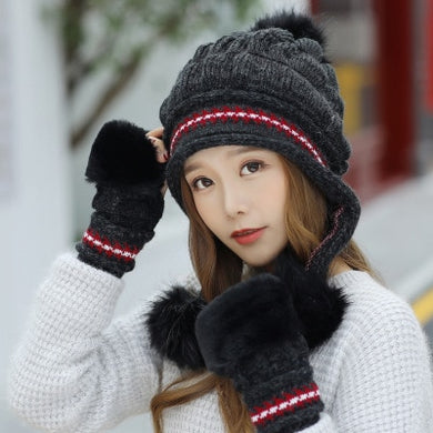 Fur PomPoms Knitted Gloves cap set - TAIGS000