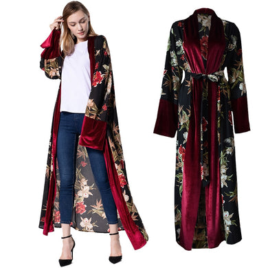 Long Velvet Floral Cardigan Abaya - TAIGS000