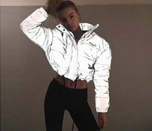 Load image into Gallery viewer, flash reflective women padded jacket - TAIGS000
