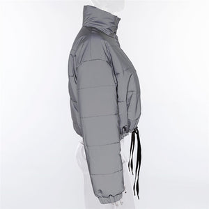 flash reflective women padded jacket - TAIGS000