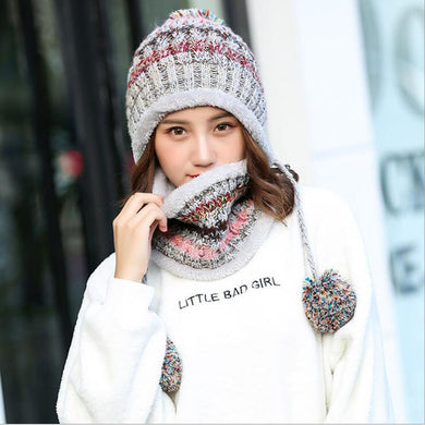 Winter Women Knitted Hat Scarf 2Pcs Set