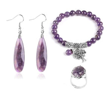 Load image into Gallery viewer, Purple Crystal tree of life Jewellery Set - TAIGS000