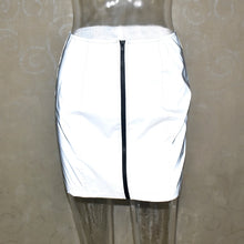 Load image into Gallery viewer, women skirt flash reflective zipper - TAIGS000