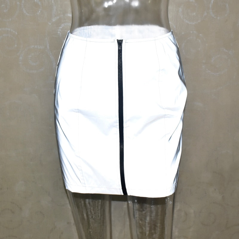 women skirt flash reflective zipper - TAIGS000