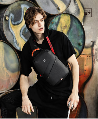 Men USB Charging Chest Bag