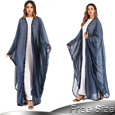 Long Lace Mesh Pearls Abaya - TAIGS000