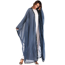 Load image into Gallery viewer, Long Lace Mesh Pearls Abaya - TAIGS000