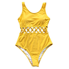 Load image into Gallery viewer, Yellow Cutout Solid One-piece Swimsuit - TAIGS000