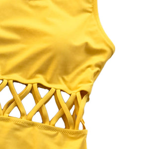 Yellow Cutout Solid One-piece Swimsuit - TAIGS000