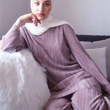 Load image into Gallery viewer, Two Piece Pleated Long Sleeve Top & Pants Abaya - TAIGS000