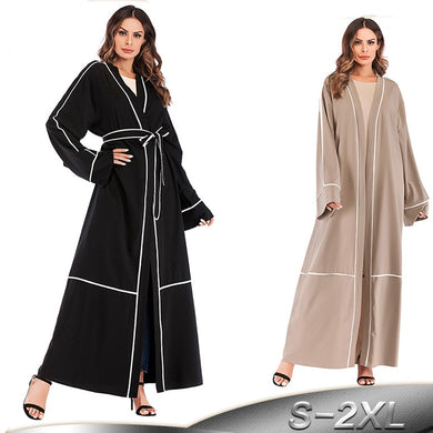 Long Striped Kimono Abaya - TAIGS000