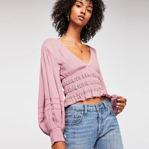 V-Neck Button Crop Top - TAIGS000