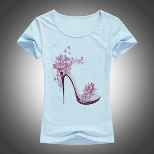 High heels printed summer cotton t shirt - TAIGS000