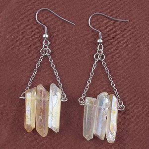 Rock Crystal Dyed Drop Earrings - TAIGS000