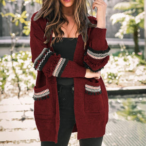 Long Sleeve knitted Tassel Pocket Cardigan - TAIGS000