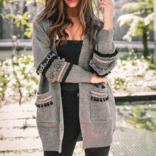 Load image into Gallery viewer, Long Sleeve knitted Tassel Pocket Cardigan - TAIGS000