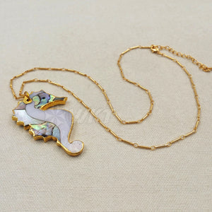 Natural abalone sea horse necklace - TAIGS000