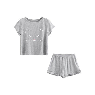 Cat Shorts Ruffled Nightwear - TAIGS000