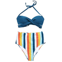 Load image into Gallery viewer, Solid Blue And Stripe High-Waist Bikini - TAIGS000