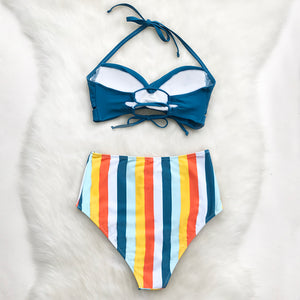 Solid Blue And Stripe High-Waist Bikini - TAIGS000
