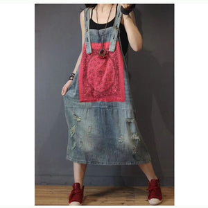 Spaghetti Strap Denim Dress - TAIGS000