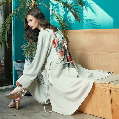 Retro Floral Printed Trench - TAIGS000