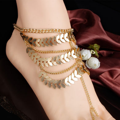 Summer Leaves Chain Anklets - TAIGS000