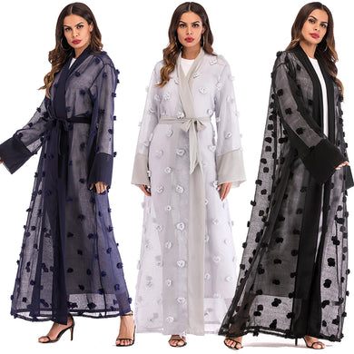 Chiffon Floral Mesh Robe Abaya with Hijab - TAIGS000