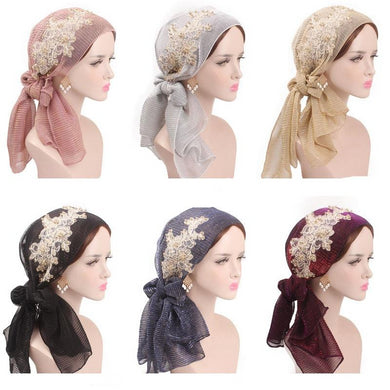 Stretch Turban Lace Flower Hijab - TAIGS000