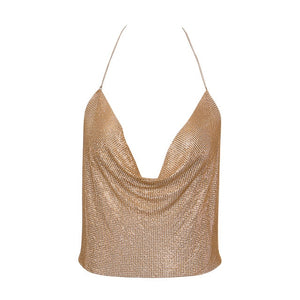 Strapless Sequined Backless Tops - TAIGS000