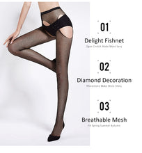 Load image into Gallery viewer, Open Crotch Diamond Pantyhose - TAIGS000