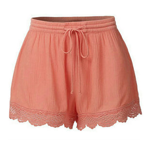 Lace Plus Size Rope Tie Shorts - TAIGS000